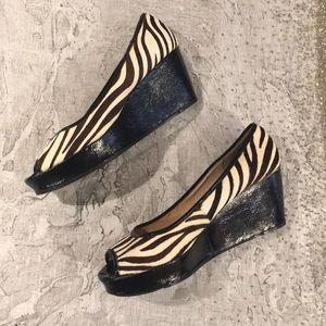 Micheal Kors wedge zebra calf hair size 9.5